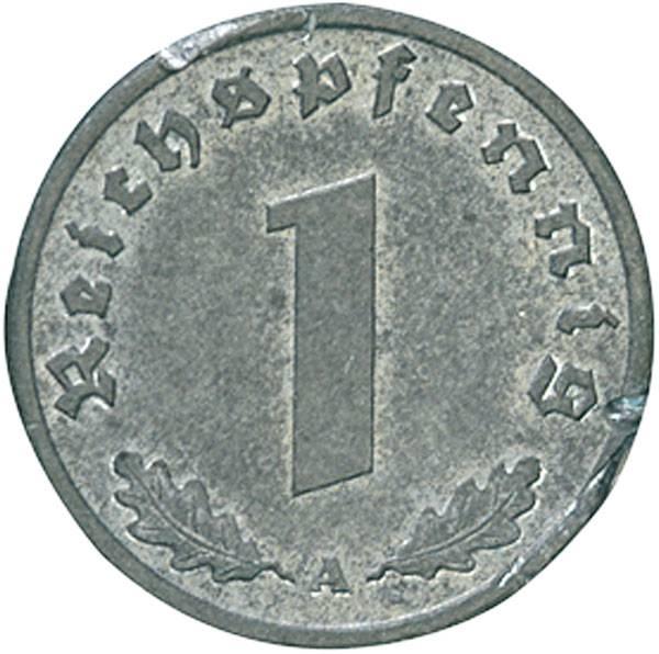 1 Reichspfennig Hakenkreuz 1940-45 Zink sehr schön