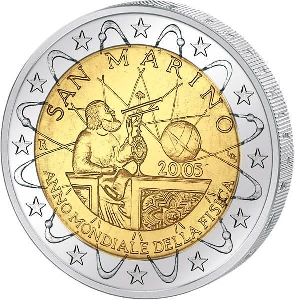 2 Euro San Marino Internationales Jahr der Physik 2005 prägefrisch