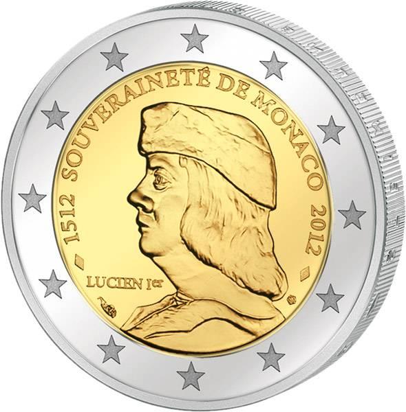 2 Euro Monaco 500. Jahrestag Gründung und Unabhängigkeit Monacos 2012 prägefrisch