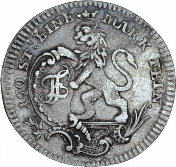 1/12 Reichstaler Hessen Kassel Landgraf Friedrich II. 1766-1771 Sehr schön