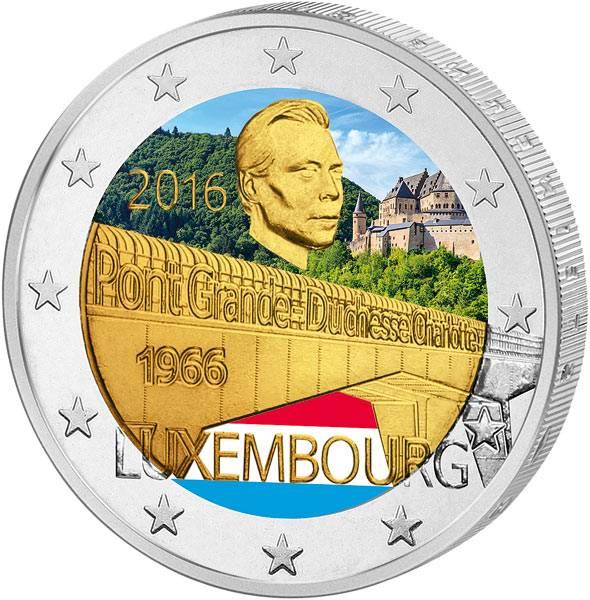 2 Euro Luxemburg Großherzogin-Charlotte-Brücke 2016 mit Farb-Applikation