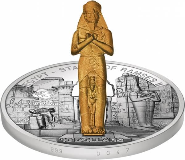 10 Dollars Cook-Inseln Ägypten Ramses Statue 2013 Stempelglanz/Polierte Platte