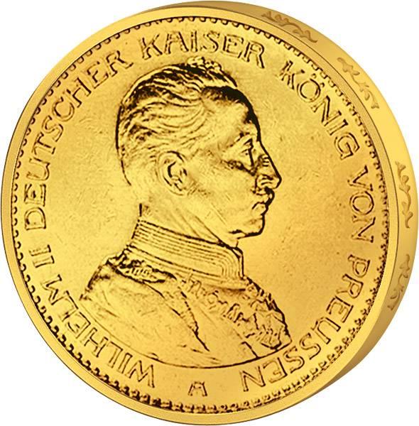 20 Mark Preußen Kaiser Wilhelm ll. in Uniform 1913-1915 Sehr schön