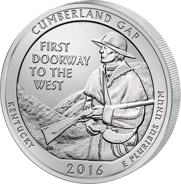Quarter Dollar USA Kentucky Cumberland Gap National Historical Park 2016 prägefrisch