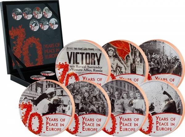 7 x 1/2 Penny Großbritannien 70 Jahre Frieden in Europa  vorzüglich