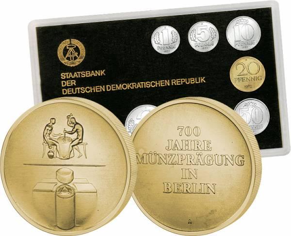 1 Pf-2 Mk (7 Werte) DDR Kusmünzensatz inkl. Gedenkprägung 700 Jahre Münze Berlin 1982 Stempelglanz