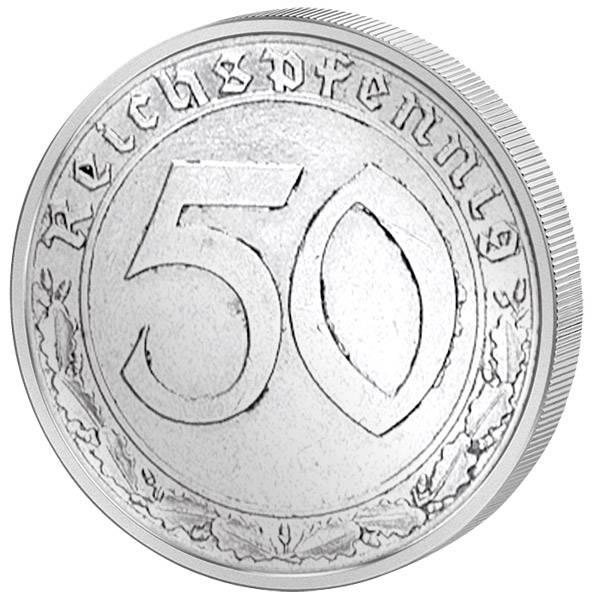 50 Reichspfennig Hakenkreuz 1938-39 cu/ni sehr schön
