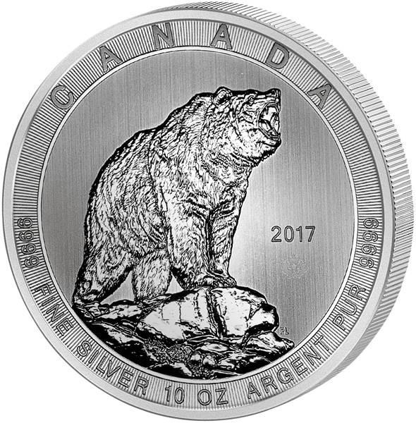 10 Unzen Silber Kanada Grizzly 2017