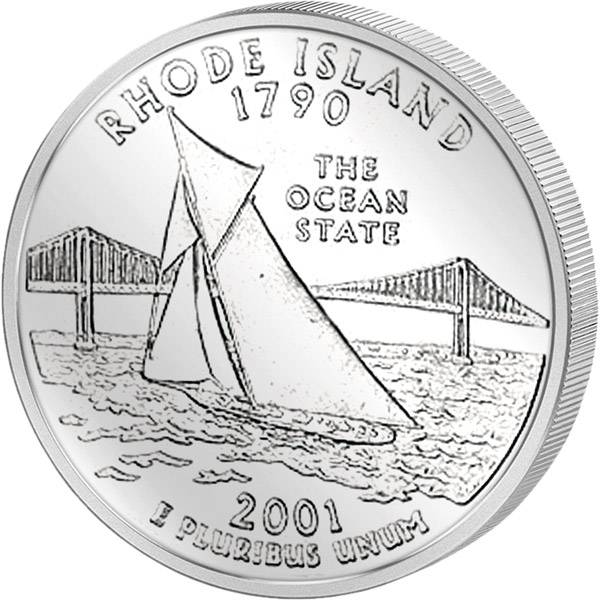 Quarter Dollar USA Rhode Island 2001