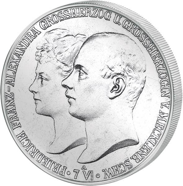 2 Mark Mecklenburg-Schwerin Hochzeit Friedrich-Franz mit Alexandra 1904 Vorzüglich
