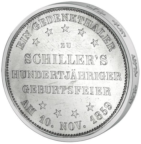 Taler  Frankfurt 100. Geburtstag Friedrich Schiller 1859  Vorzüglich (vz)