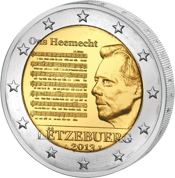 2 Euro Luxemburg Nationalhymne des Großherzogtums 2013 prägefrisch