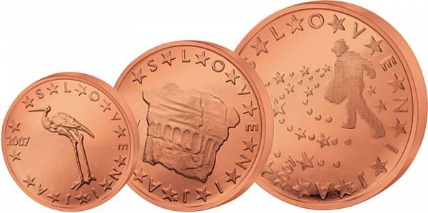 1 + 2 + 5 Euro-Cents Slowenien J.u.W. vz-st