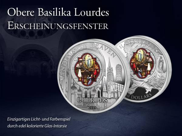 10 Dollars Cook-Inseln Obere Basilika Lourdes Erscheinungsfenster 2013 Prooflike