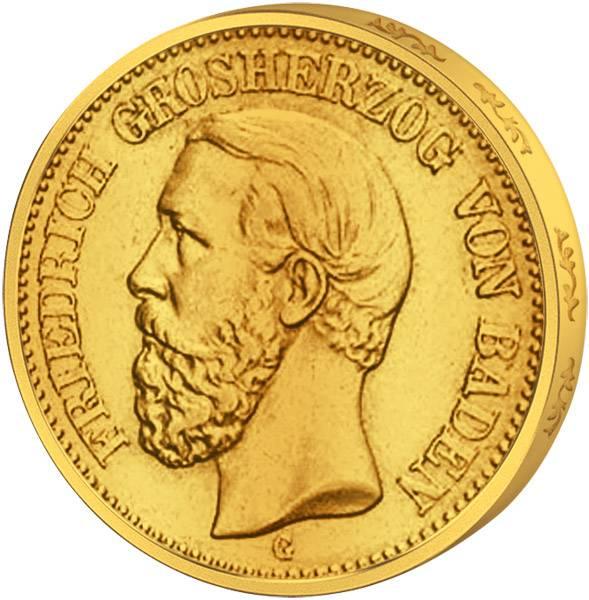 20 Gold-Mark Baden Großherzog Friedrich I. 1872-1873 Sehr schön