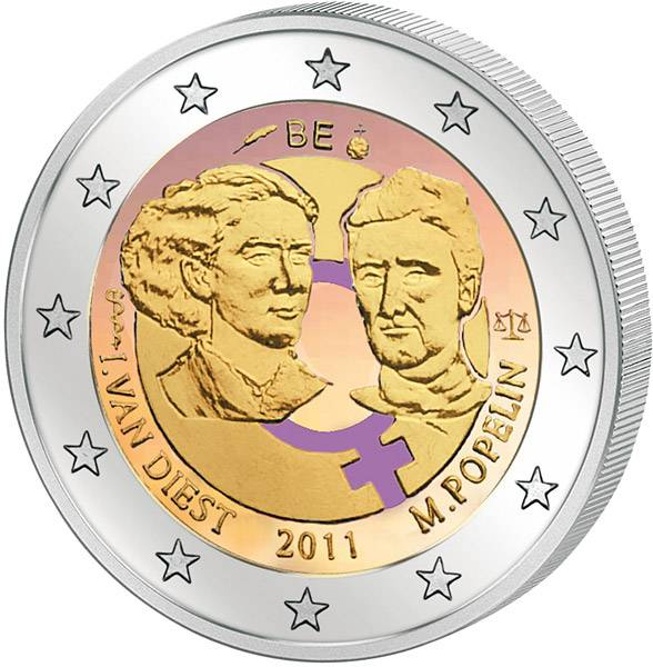 2 Euro Belgien 100 Jahre Internationaler Frauentag mit Farb-Applikation