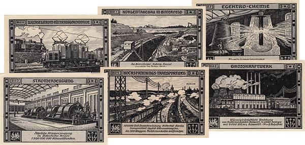 6 x 75 Pfennig Notgeldserie Bitterfeld Industrie 1921