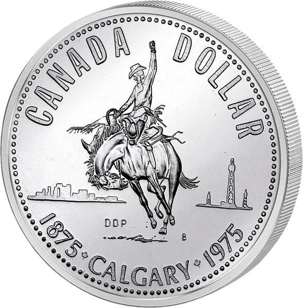 1 Dollar Kanada 100 Jahre Stadt Calgary 1975   Prooflike