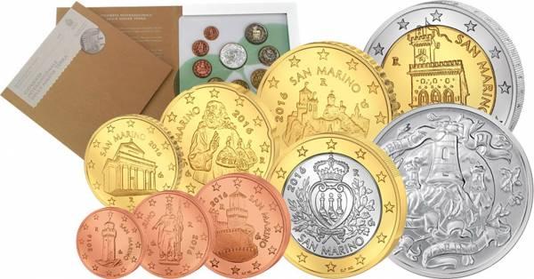 Euro-Kursmünzensatz San Marino 2016 inkl. 5 Euro Silbergedenkmünze