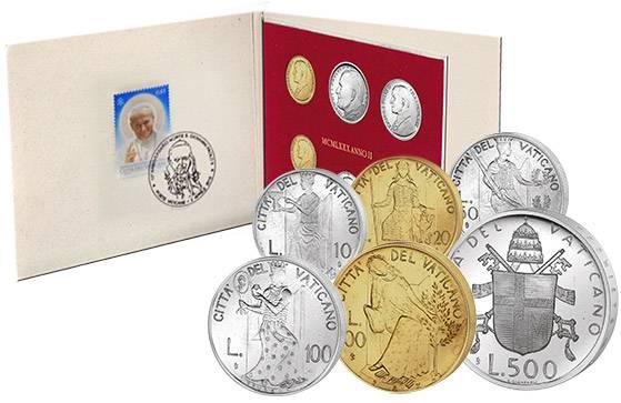 10 - 500 Lire Kursmünzensatz Vatikan Erstagsedition