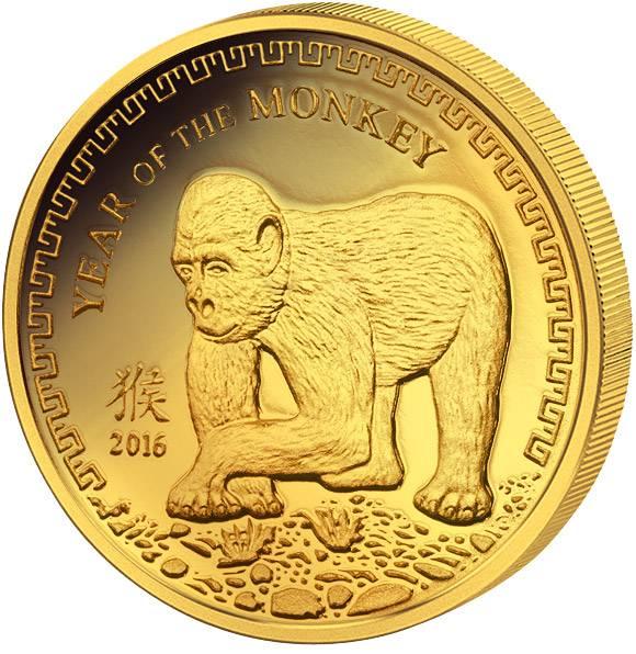 1.000 Togrog Mongolei Jahr des Affen 2016 Polierte Platte