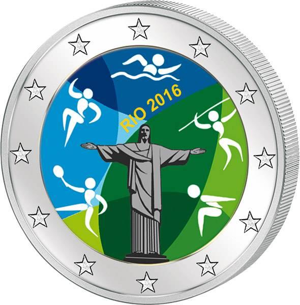 2 Euro BRD mit Farb-Applikation Olympische Spiele in Rio 2016 prägefrisch