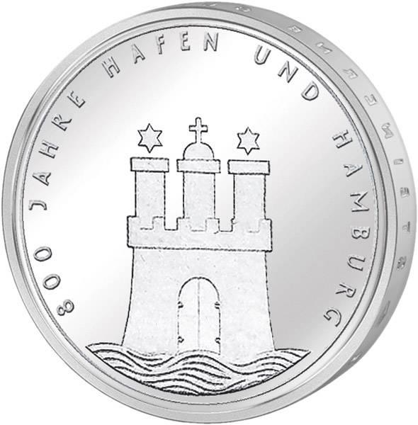 10 DM BRD  800 Jahre Hamburger Hafen 1989 J vorzüglich