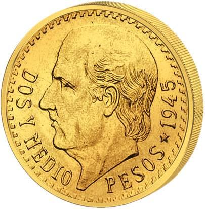 2 ½ Pesos Mexiko Miguel Hidalgo 1945 vz-st