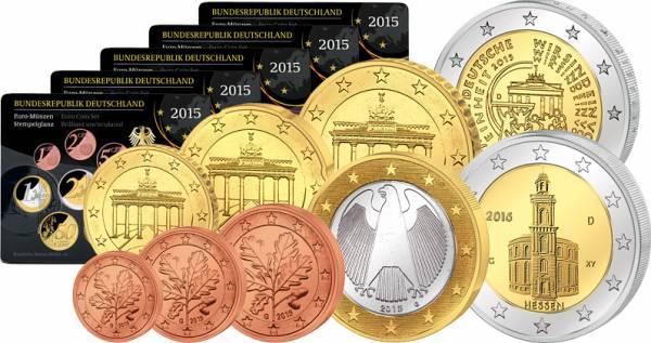 5 x 1 Cent - 2 Euro + 2 Euro BRD Kursmünzensätze 2015     Stempelglanz