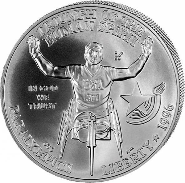 1 Dollar USA Olympiade Atlanta Rollstuhlfahrer