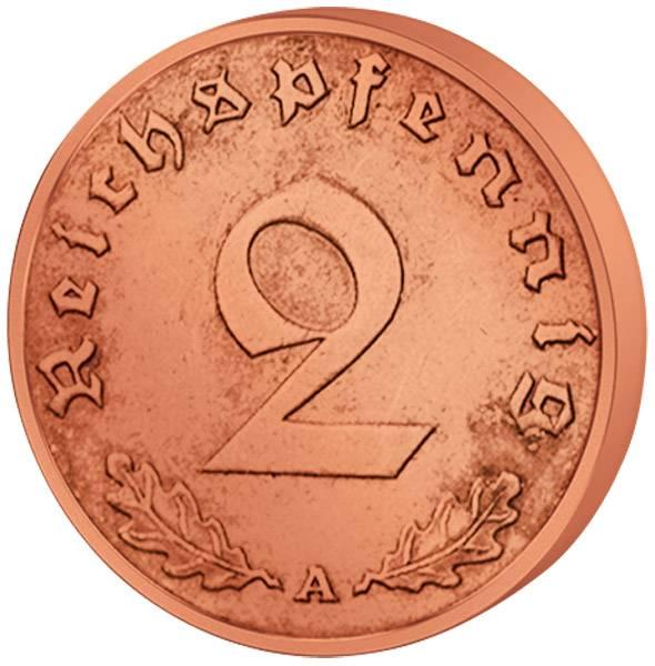 2 Reichspfennig Hakenkreuz 1936-40  ss-vz