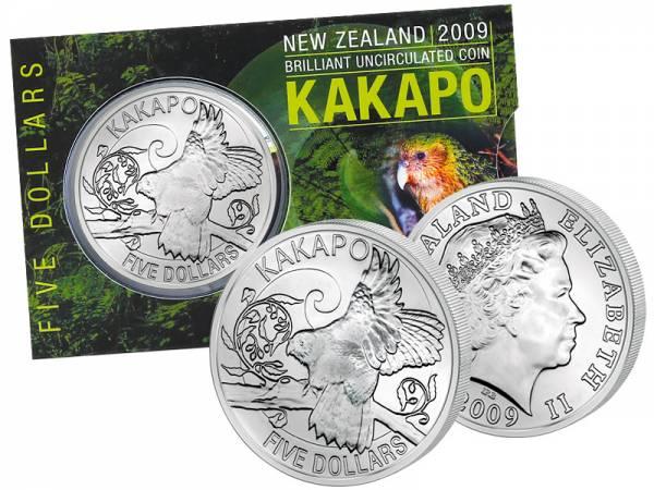 5 Dollars Neuseeland Kakapo 2009 Stempelglanz