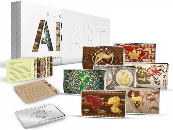 7 x 1.000 Francs Gabun Global Art Collection 2014 Polierte Platte