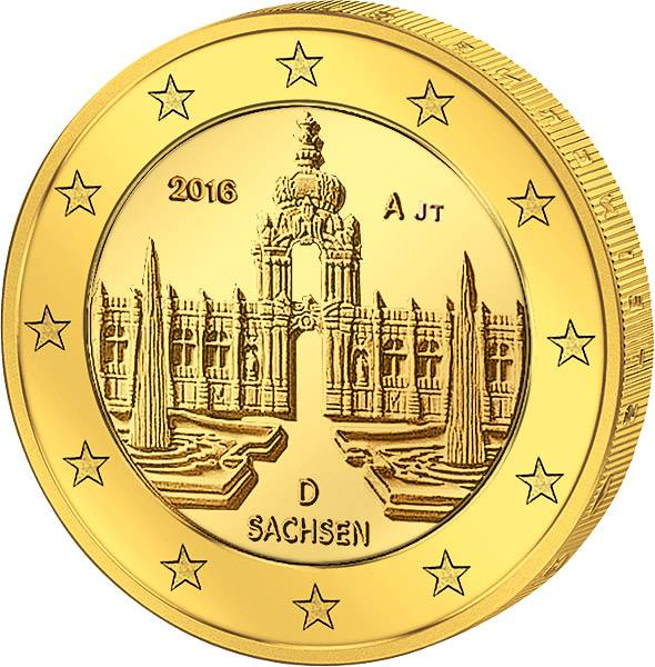 2 Euro BRD Dresdner Zwinger vollvergoldet 2016 prägefrisch