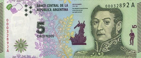 5 Pesos Argentinien Freiheitsbanknote 2015