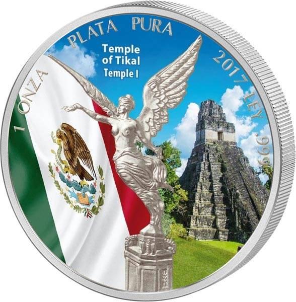 1 Unze Mexiko Libertad 2017 mit Farb-Applikation