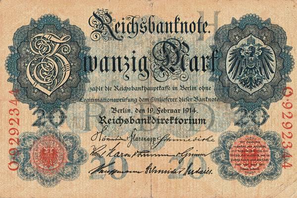 20 Mark Deutsches Reich Banknote 1914 zirkuliert