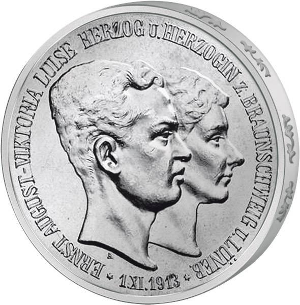 3 Mark Braunschweig-Lüneburg Regierungsantritt 1915 Vorzüglich
