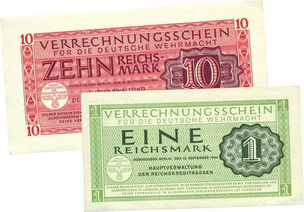 1 und 10 Reichsmark Verrechnungsschein für die deutsche Wehrmacht 1944 ss-vz