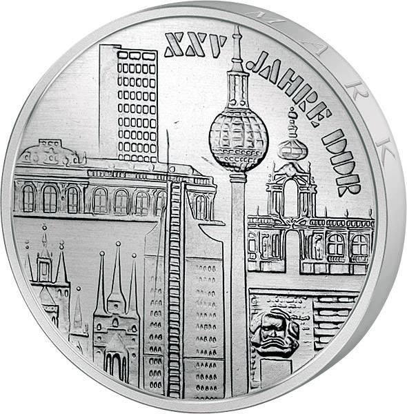 10 Mark  25 Jahre DDR Städtemotive 1974 A Stempelglanz