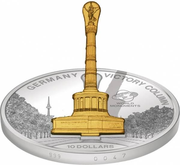 10 Dollars Cook-Inseln Deutschland Siegessäule 2015 Stempelglanz/Polierte Platte