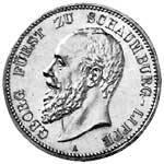 2 Mark Silber Georg Fürst zu Schaumburg-Lippe 1898-1904 Vorzüglich