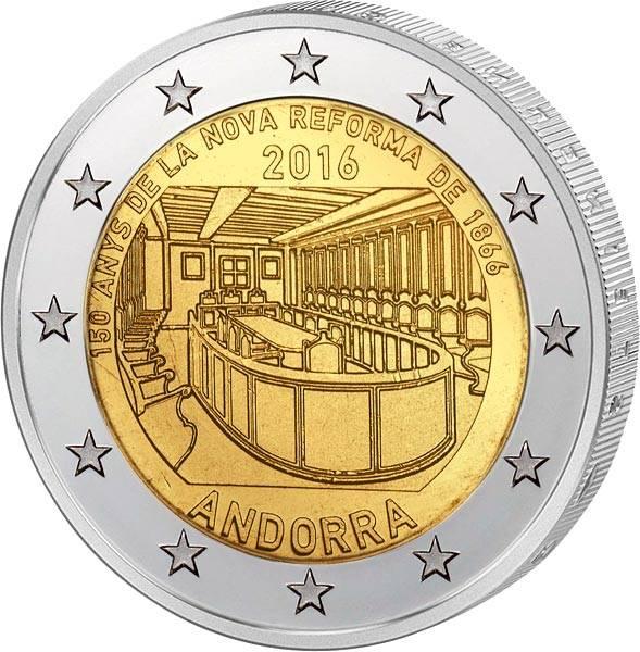 2 Euro Andorra 150-jähriges Jubiläum der Neuen Reform von 1866 2016