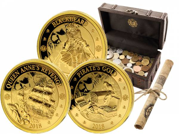 Münzschatz inklusive 3 x 1/4 Dollar Barbados Piraten von Barbados 2018