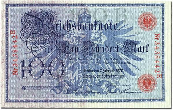100 Mark Reichsbanknote Allegorien 1908 kassenfrisch