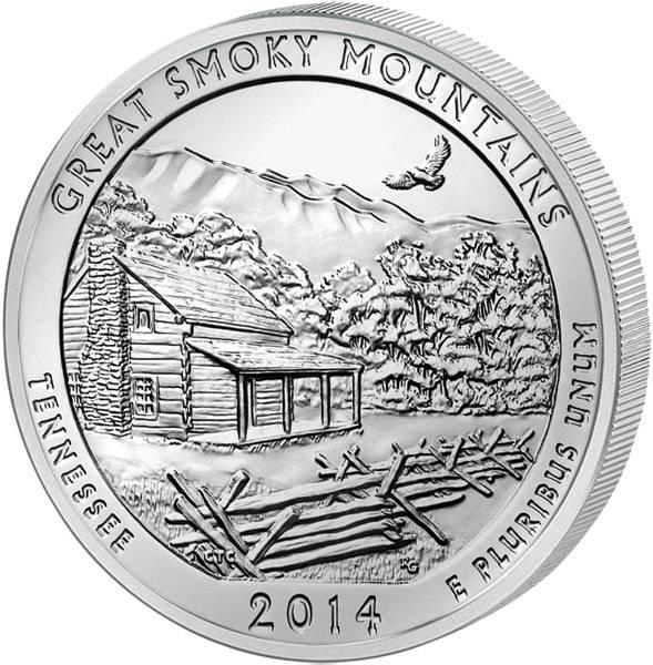 Quarter Dollar USA Tennessee Great Smoky Mountains National Park 2014 prägefrisch