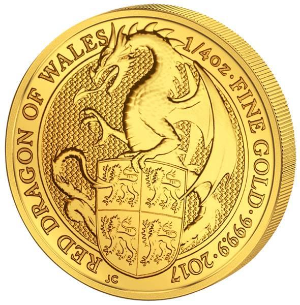 1/4 Unze Gold Großbritannien Queens Beasts Drache von Wales 2017
