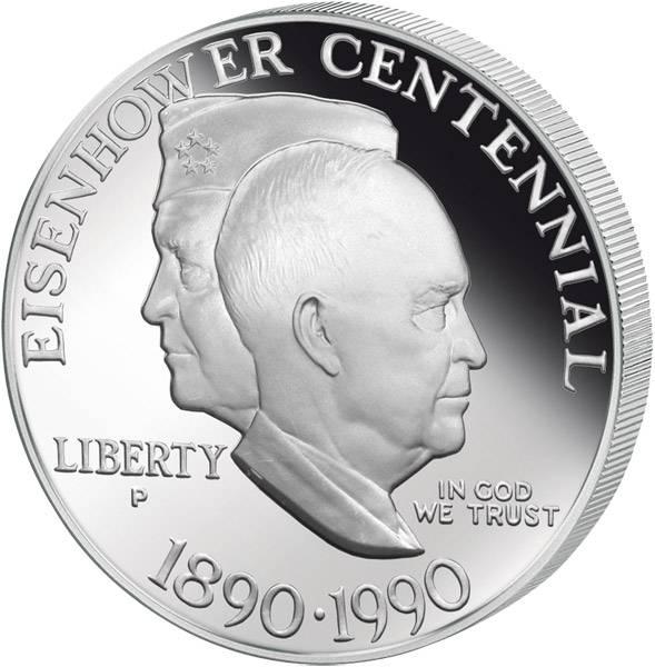 1 Dollar Silber USA Dwight D. Eisenhower 1990 Polierte Platte