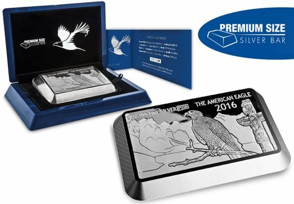 1 Unze Fidschi Premium Size Silver Bar Eagle