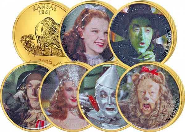 6 x 25 Cents USA mit Farb-Applikation Der Zauberer von Os 2005   vz - St